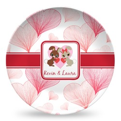 Hearts & Bunnies Microwave Safe Plastic Plate - Composite Polymer (Personalized)