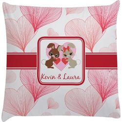 Hearts & Bunnies Decorative Pillow Case (Personalized)