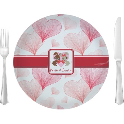 """Hearts & Bunnies 10"""" Glass Lunch / Dinner Plates - Single or Set (Personalized)"""