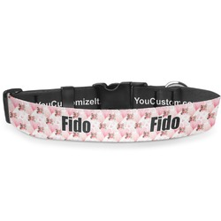 """Hearts & Bunnies Deluxe Dog Collar - Toy (6"""" to 8.5"""") (Personalized)"""