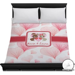 Hearts & Bunnies Duvet Cover (Personalized)