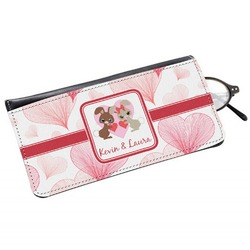 Hearts & Bunnies Genuine Leather Eyeglass Case (Personalized)