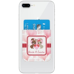 Hearts & Bunnies Genuine Leather Adhesive Phone Wallet (Personalized)