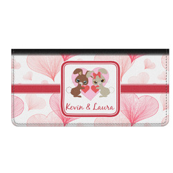 Hearts & Bunnies Genuine Leather Checkbook Cover (Personalized)