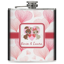 Hearts & Bunnies Genuine Leather Flask (Personalized)