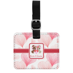 Hearts & Bunnies Genuine Leather Luggage Tag w/ Couple's Names