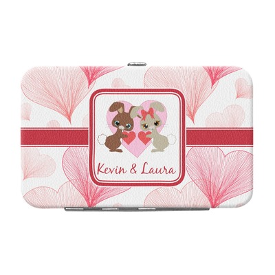 Hearts & Bunnies Genuine Leather Small Framed Wallet (Personalized)