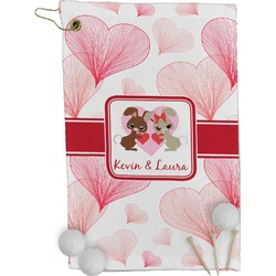 Hearts & Bunnies Golf Towel - Full Print (Personalized)