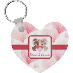 Hearts & Bunnies Heart Keychain (Personalized)