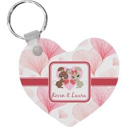 Hearts & Bunnies Heart Keychain (Personalized)