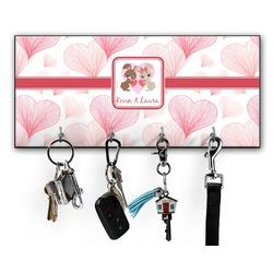 Hearts & Bunnies Key Hanger w/ 4 Hooks (Personalized)