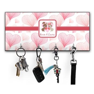 Hearts & Bunnies Key Hanger w/ 4 Hooks w/ Couple's Names