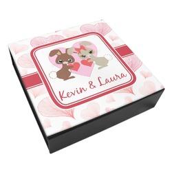 Hearts & Bunnies Leatherette Keepsake Box - 3 Sizes (Personalized)