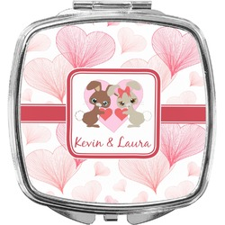Hearts & Bunnies Compact Makeup Mirror (Personalized)