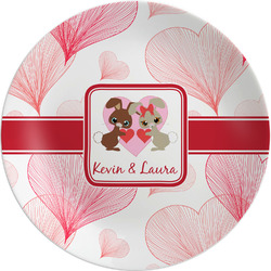 "Hearts & Bunnies Melamine Plate - 8"" (Personalized)"
