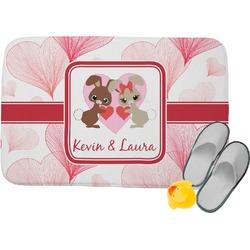 Hearts & Bunnies Memory Foam Bath Mat (Personalized)