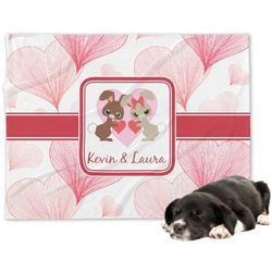 Hearts & Bunnies Minky Dog Blanket (Personalized)