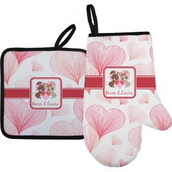 Hearts & Bunnies Oven Mitt & Pot Holder (Personalized)