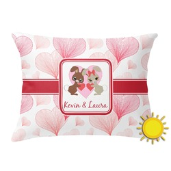 Hearts & Bunnies Outdoor Throw Pillow (Rectangular) (Personalized)