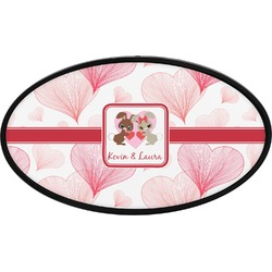 Hearts & Bunnies Oval Trailer Hitch Cover (Personalized)