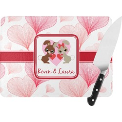 Hearts & Bunnies Rectangular Glass Cutting Board (Personalized)