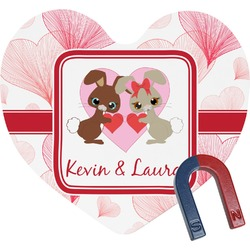 Hearts & Bunnies Heart Fridge Magnet (Personalized)