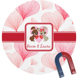 Hearts & Bunnies Round Magnet (Personalized)