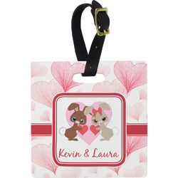 Hearts & Bunnies Square Luggage Tag (Personalized)
