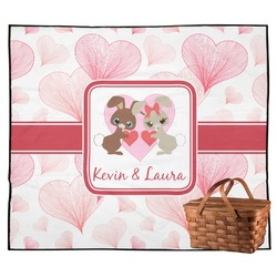 Hearts & Bunnies Outdoor Picnic Blanket (Personalized)
