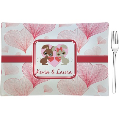 Hearts & Bunnies Rectangular Glass Appetizer / Dessert Plate - Single or Set (Personalized)