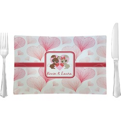 Hearts & Bunnies Rectangular Glass Lunch / Dinner Plate - Single or Set (Personalized)