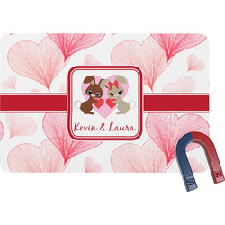 Hearts & Bunnies Rectangular Fridge Magnet (Personalized)