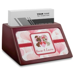 Hearts & Bunnies Red Mahogany Business Card Holder (Personalized)