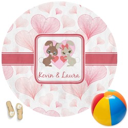 Hearts & Bunnies Round Beach Towel (Personalized)