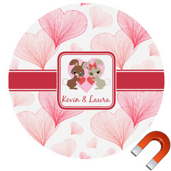 Hearts & Bunnies Round Car Magnet (Personalized)