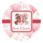 Hearts & Bunnies Round Decal (Personalized)