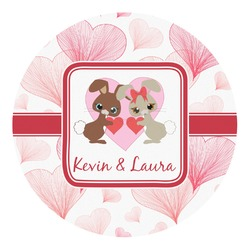 Hearts & Bunnies Round Decal - Custom Size (Personalized)