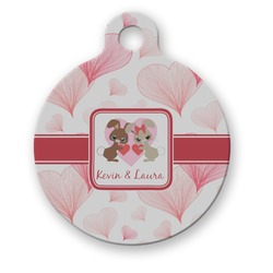 Hearts & Bunnies Round Pet Tag (Personalized)