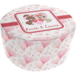 Hearts & Bunnies Round Pouf Ottoman (Personalized)