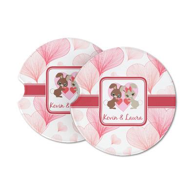 Hearts & Bunnies Sandstone Car Coasters (Personalized)