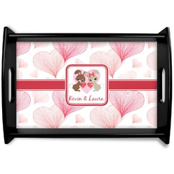 Hearts & Bunnies Black Wooden Tray (Personalized)