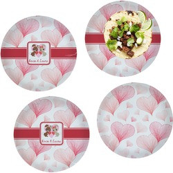Hearts & Bunnies Set of 4 Lunch / Dinner Plates (Glass) (Personalized)