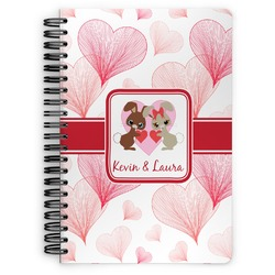 Hearts & Bunnies Spiral Bound Notebook (Personalized)