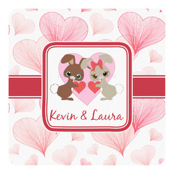 Hearts & Bunnies Square Decal (Personalized)