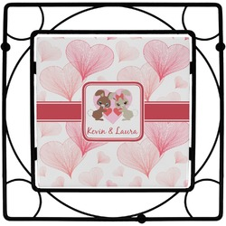 Hearts & Bunnies Square Trivet (Personalized)