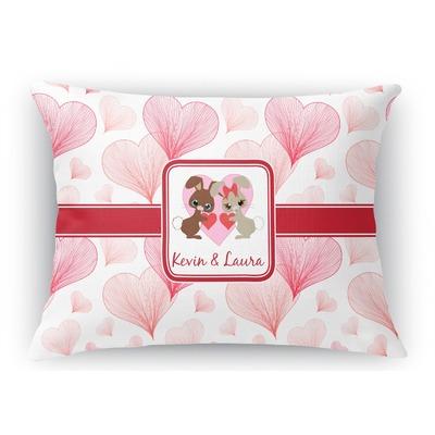 Hearts & Bunnies Rectangular Throw Pillow Case (Personalized)