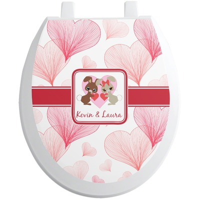 Hearts & Bunnies Toilet Seat Decal (Personalized)