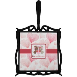 Hearts & Bunnies Trivet with Handle (Personalized)