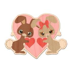 Hearts & Bunnies Genuine Wood Sticker (Personalized)