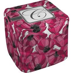 Tulips Cube Pouf Ottoman (Personalized)
